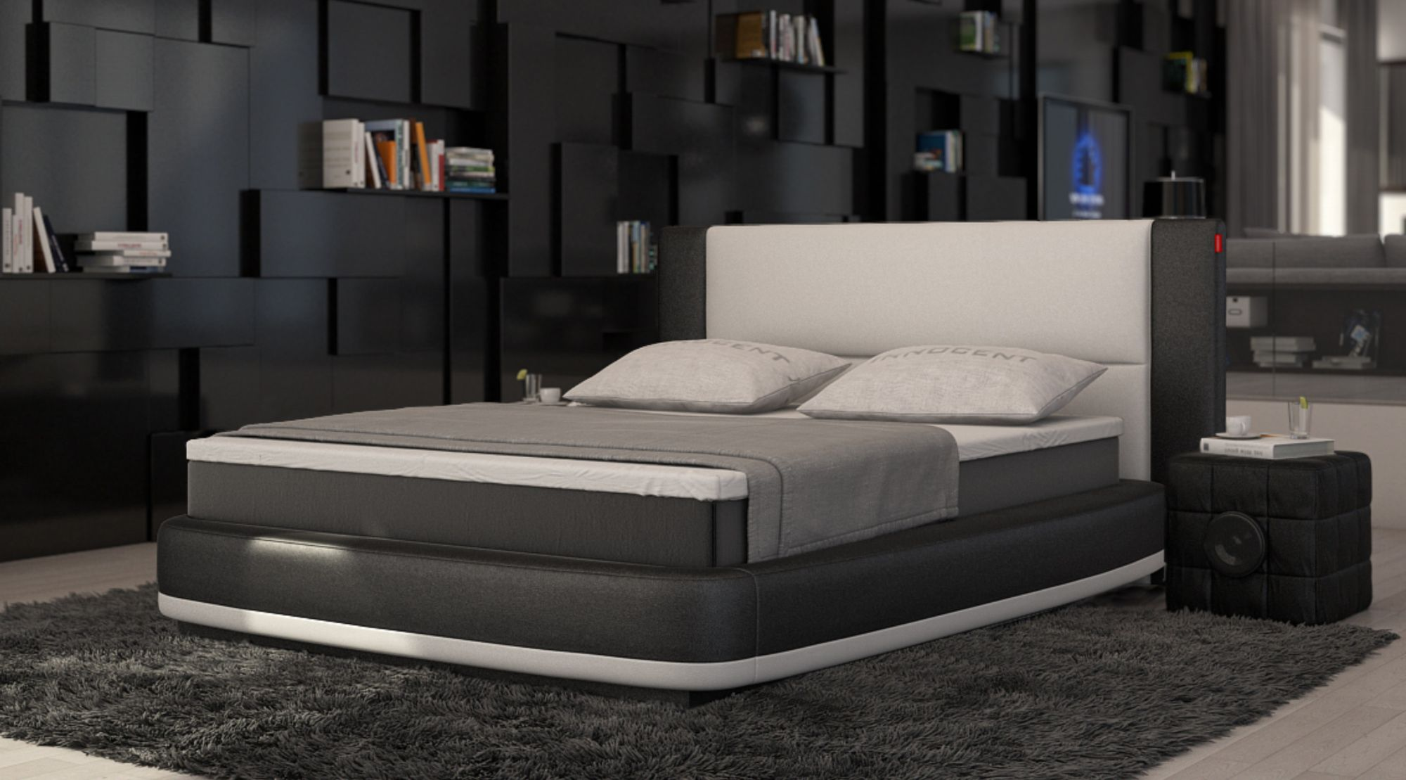 boxspring bett aquila design polsterbett designerbett zweifarbig ebay. Black Bedroom Furniture Sets. Home Design Ideas