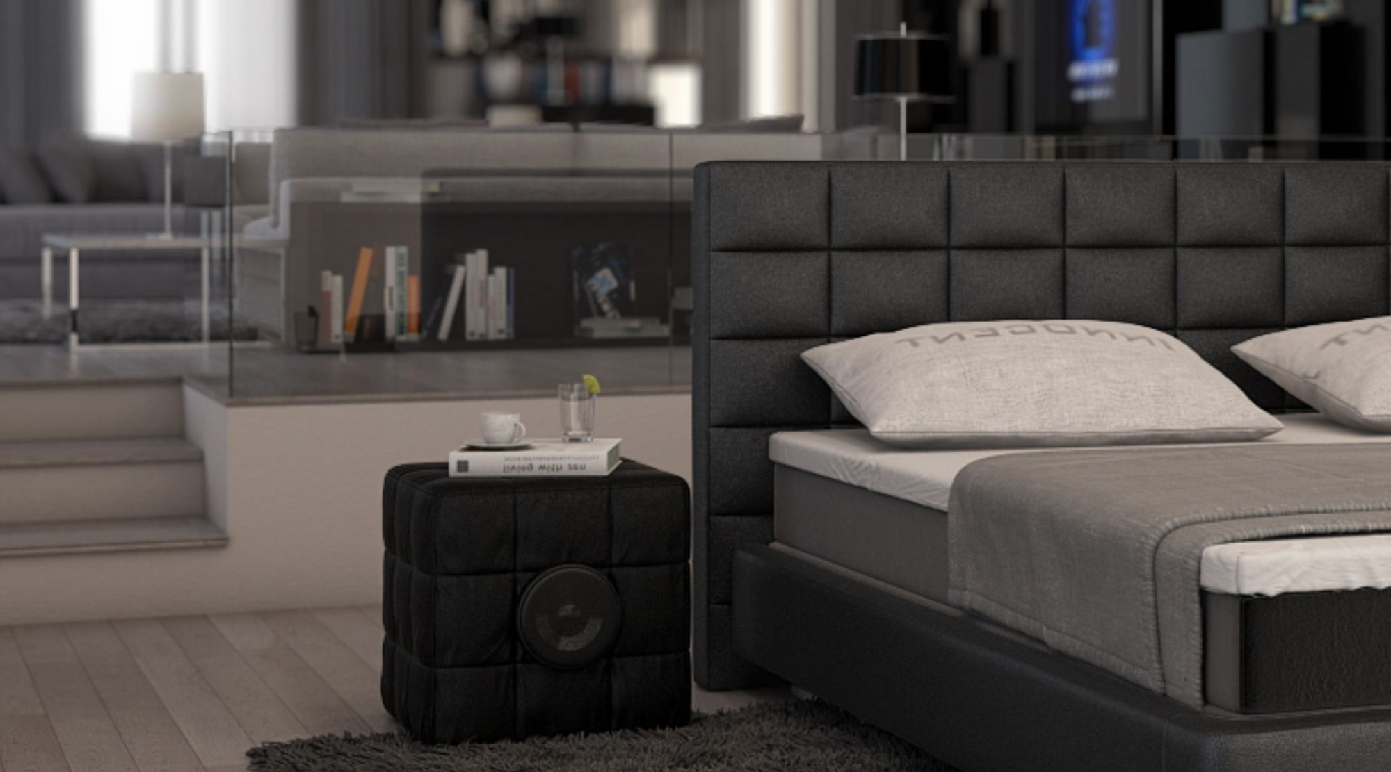 boxspringbett trapani design polsterbett designerbett gesteppt ebay. Black Bedroom Furniture Sets. Home Design Ideas