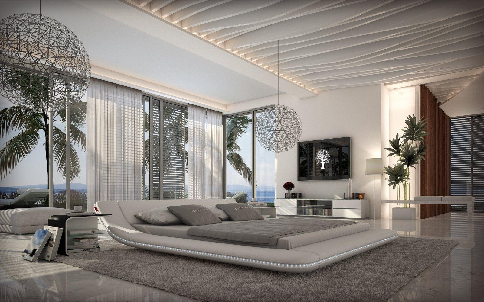 design polsterbett custo led designerbett mit led beleuchtung + +, Schlafzimmer