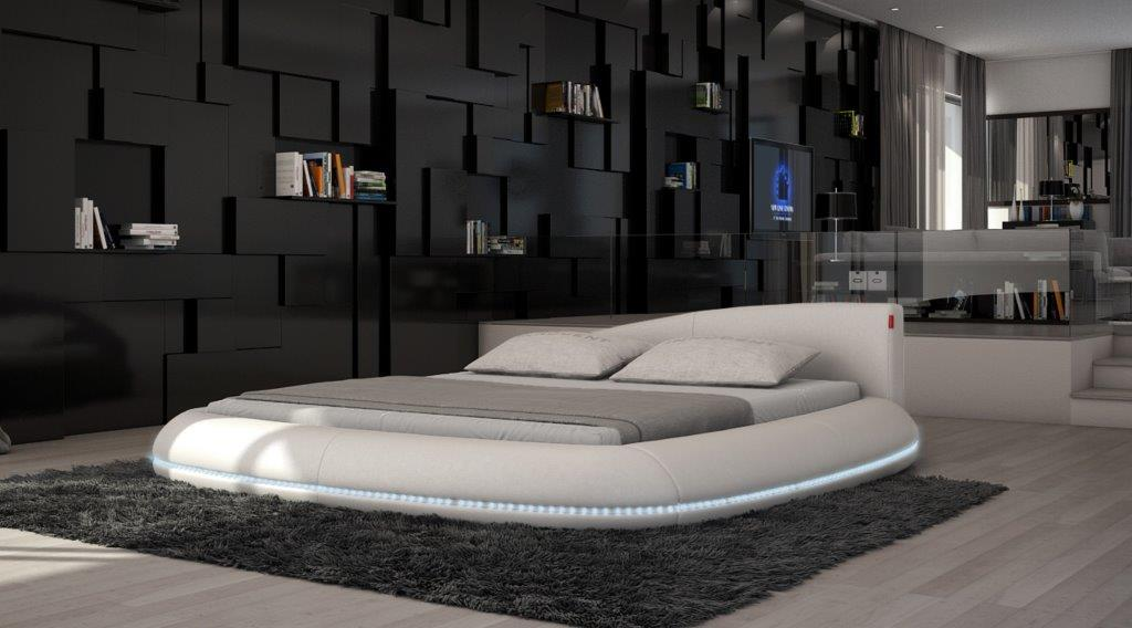 designerbett rundbett modica polsterbett mit led beleuchtung ebay. Black Bedroom Furniture Sets. Home Design Ideas