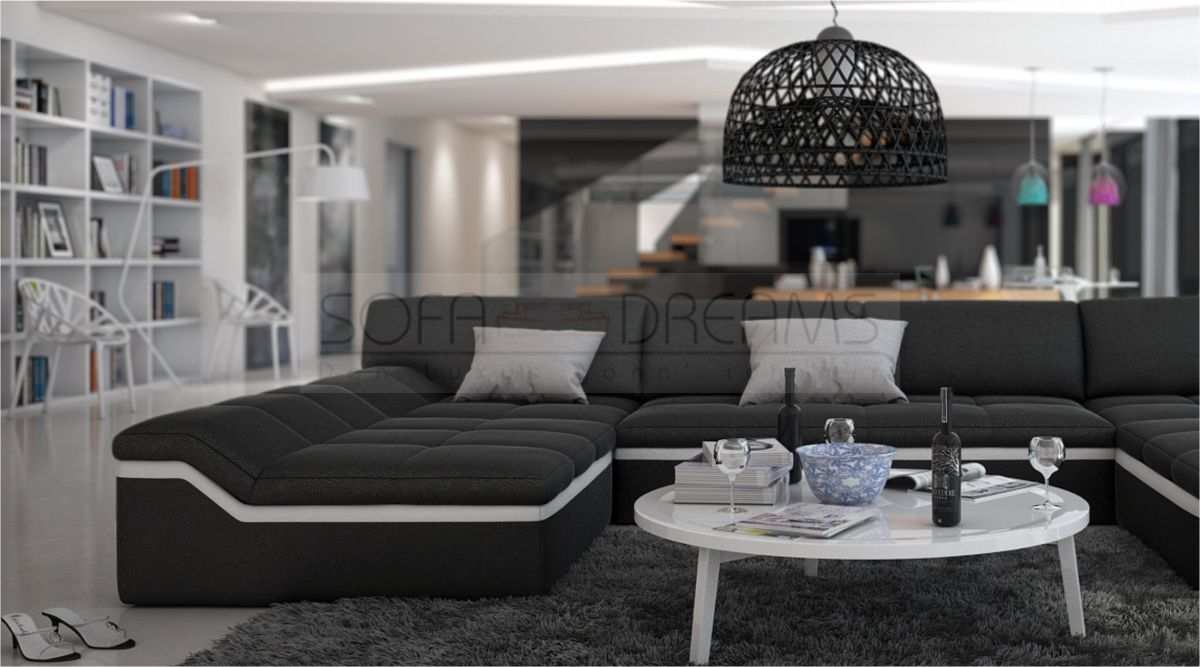 moderne wohnlandschaft barari u form sofa design couch relaxsofa ebay. Black Bedroom Furniture Sets. Home Design Ideas