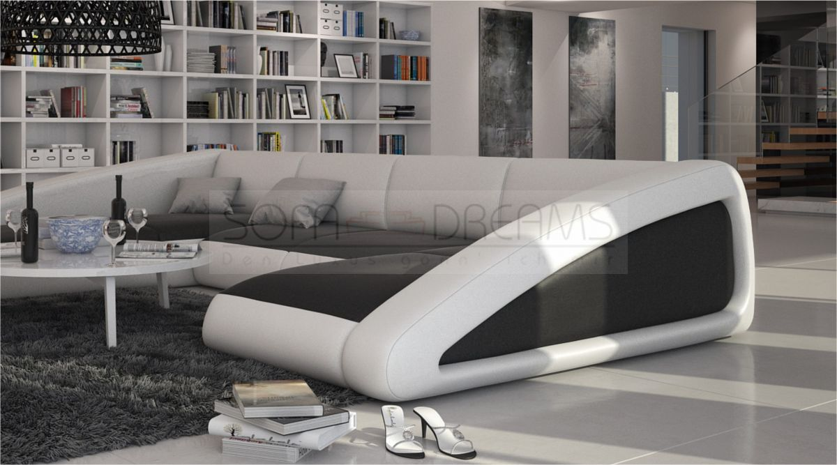 wohnlandschaft nassau u form ledersofa design couch polstersofa ebay. Black Bedroom Furniture Sets. Home Design Ideas
