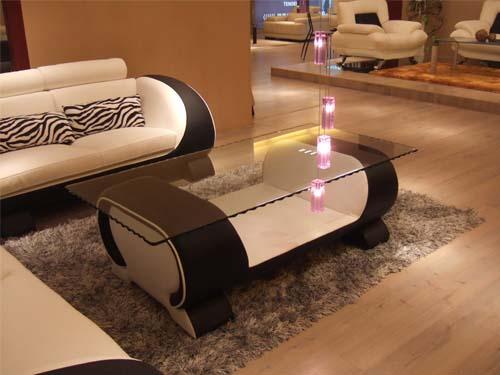 Design glastisch glas tisch couchtisch vigo leder neu for Design glastisch couchtisch