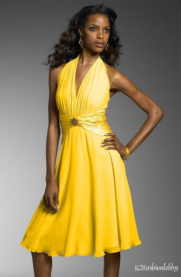 Partykleid-Abendkleid-Kleider-DESIGN-KLEID-GELB-42-NEU