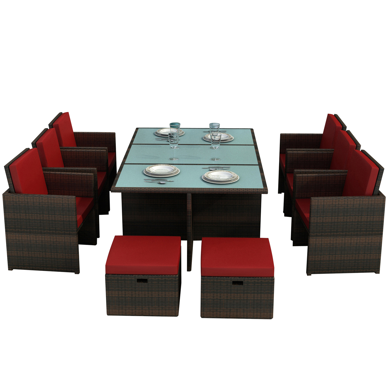 gartenm belset gartenm bel bali essgruppe rot braun 1b 2 wahl ebay. Black Bedroom Furniture Sets. Home Design Ideas