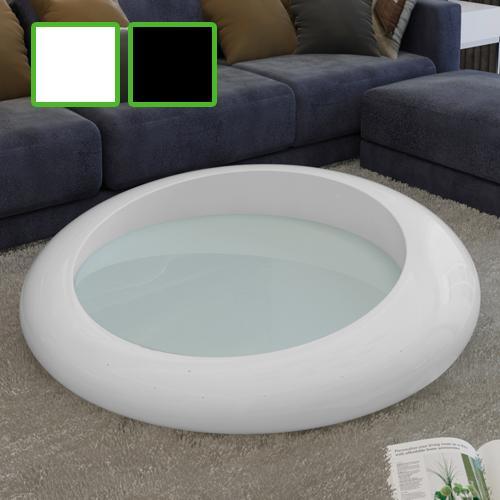 couchtisch beistelltisch tisch hochglanz fiberglas rund wei schwarz 290480 ebay. Black Bedroom Furniture Sets. Home Design Ideas