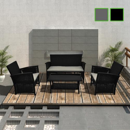 4 tgl rattan sofa set gartengarnitur gartenm bel gartenset sofa grau schwarz ebay. Black Bedroom Furniture Sets. Home Design Ideas