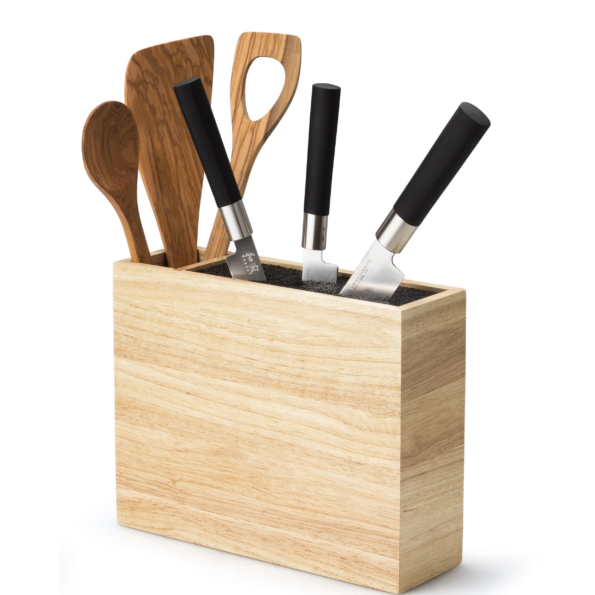 continenta messerblock aus gummibaumholz ohne schlitze mit beh lter ebay. Black Bedroom Furniture Sets. Home Design Ideas
