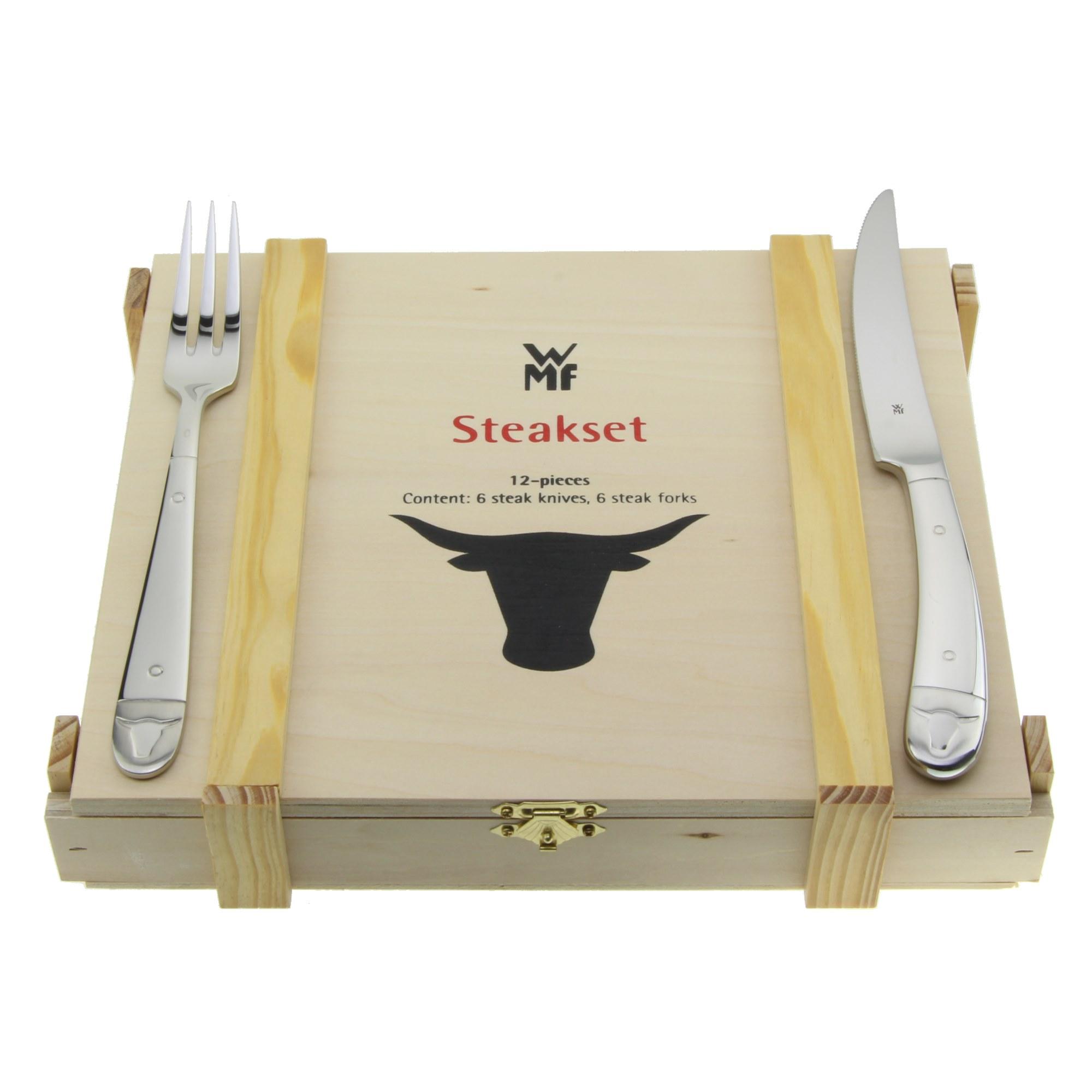 wmf steakbesteck grillbesteck set 12 teilig stierkopf holzbox ebay. Black Bedroom Furniture Sets. Home Design Ideas
