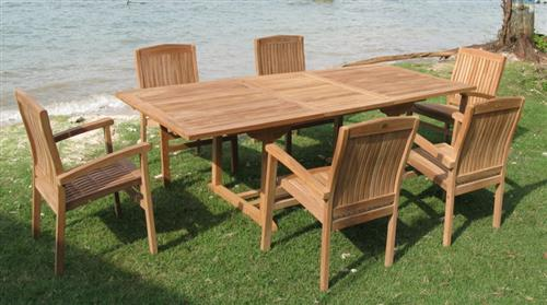 160er eckiger auszieh teak tisch inkl 6 st hle terrasse garten neu ebay. Black Bedroom Furniture Sets. Home Design Ideas