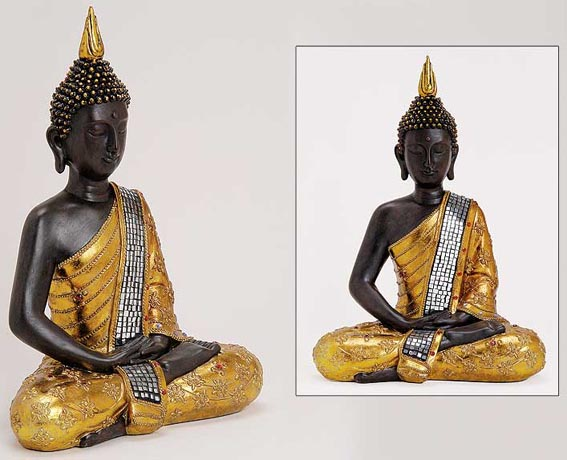 1199 deko thailand goldener buddha figur statue skulptur feng shui 30 cm ebay. Black Bedroom Furniture Sets. Home Design Ideas