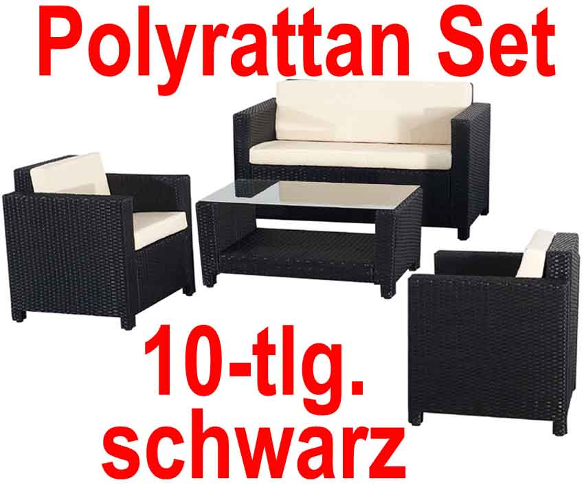 3101 poly rattan lounge schwarz sofa garnitur polyrattan. Black Bedroom Furniture Sets. Home Design Ideas