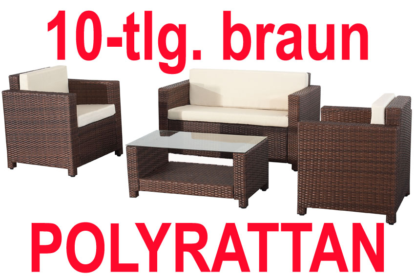3101b poly rattan lounge braun sofa garnitur polyrattan. Black Bedroom Furniture Sets. Home Design Ideas