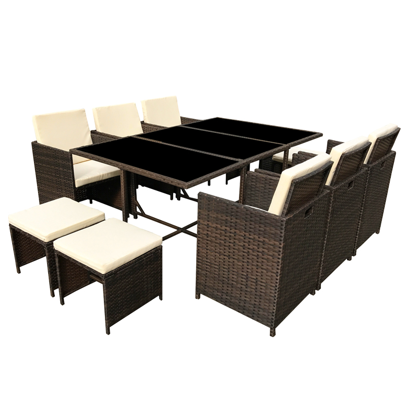 poly rattan essgruppe polyrattan braun lounge garten. Black Bedroom Furniture Sets. Home Design Ideas