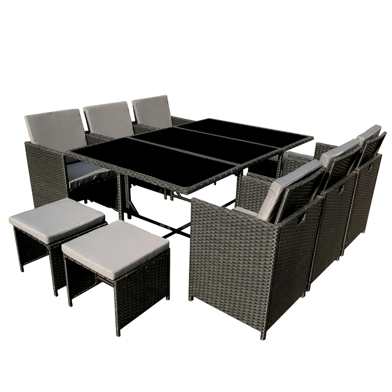 poly rattan essgruppe polyrattan schwarz lounge garten garnitur gartenm bel neu. Black Bedroom Furniture Sets. Home Design Ideas