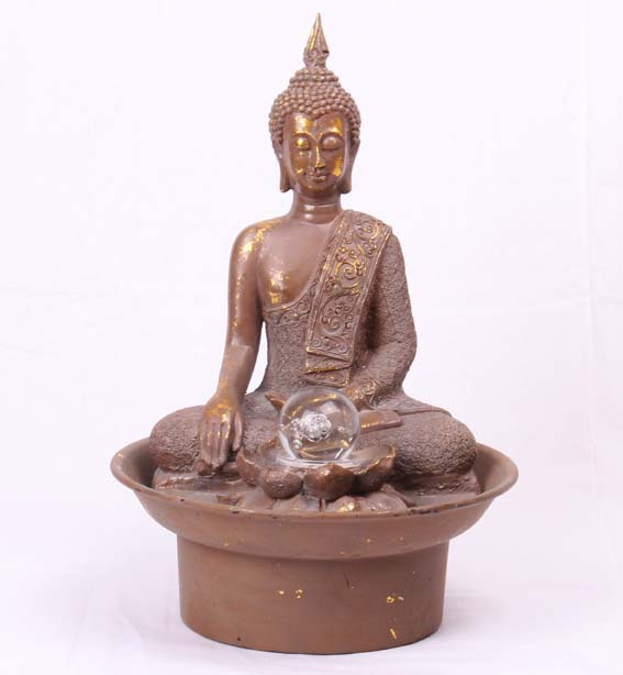 0936 deko buddha statue brunnen zimmerbrunnen mit kugel 42cm asia neu ebay. Black Bedroom Furniture Sets. Home Design Ideas