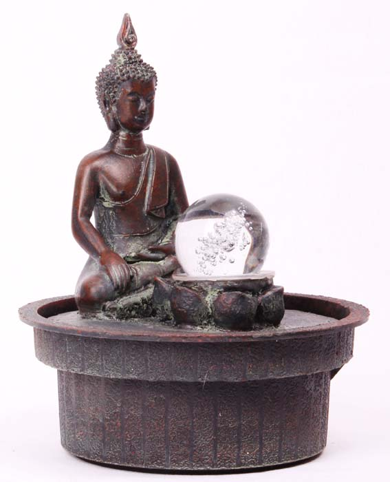 0937 deko buddha statue brunnen zimmerbrunnen mit kugel. Black Bedroom Furniture Sets. Home Design Ideas