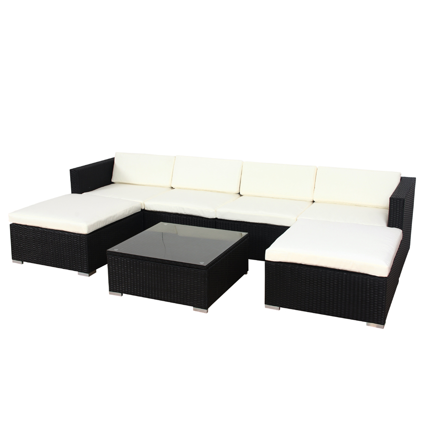 xxl poly rattan garten lounge gartenset schwarz garnitur gartenm bel polyrattan ebay. Black Bedroom Furniture Sets. Home Design Ideas