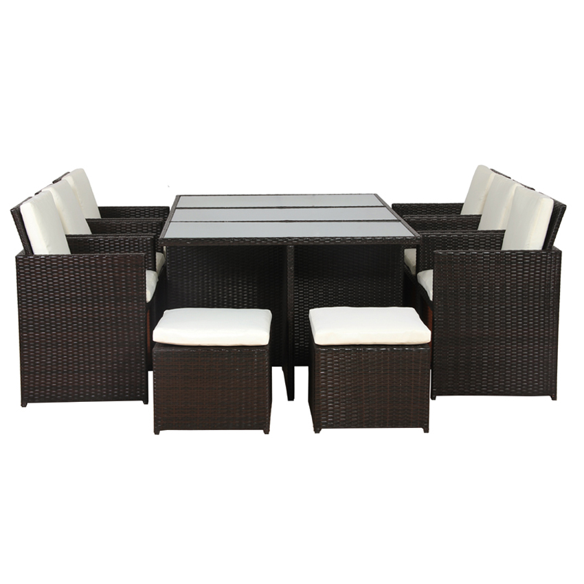 poly rattan essgruppe lounge garten garnitur sitzgruppe alu polyrattan braun ebay. Black Bedroom Furniture Sets. Home Design Ideas