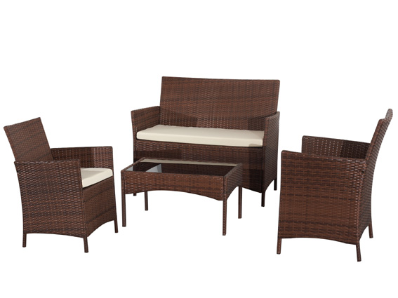 rattan lounge set braun aus polyrattan gartenm bel garnitur sofa komfortabel ebay. Black Bedroom Furniture Sets. Home Design Ideas