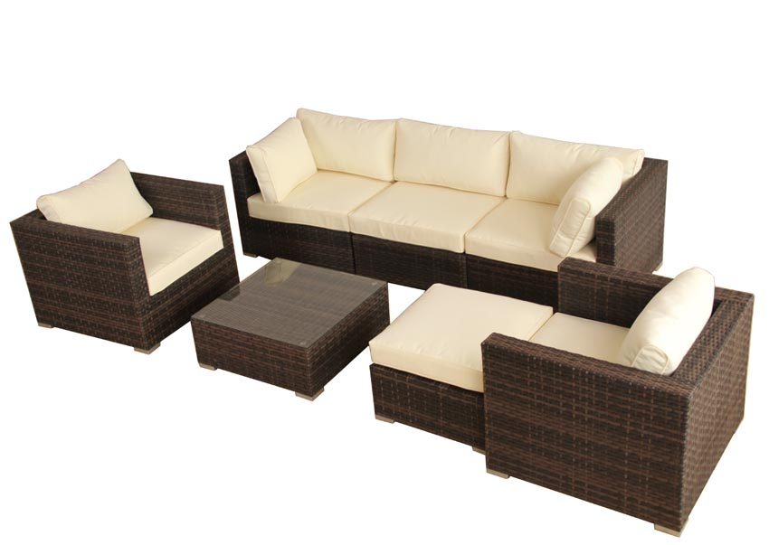 deluxe polyrattan lounge gartenset gartenm bel garten sitzgruppe sofa aluminium ebay. Black Bedroom Furniture Sets. Home Design Ideas