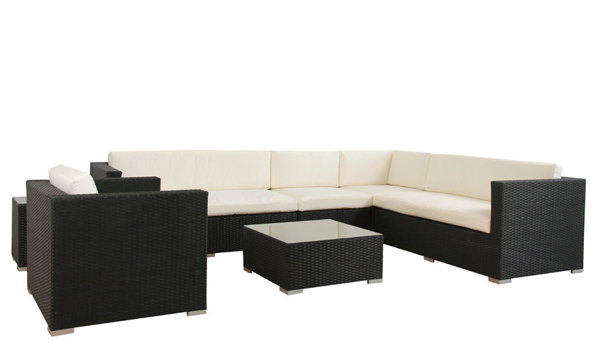 polyrattan gartenm bel poly rattan lounge azur schwarz. Black Bedroom Furniture Sets. Home Design Ideas