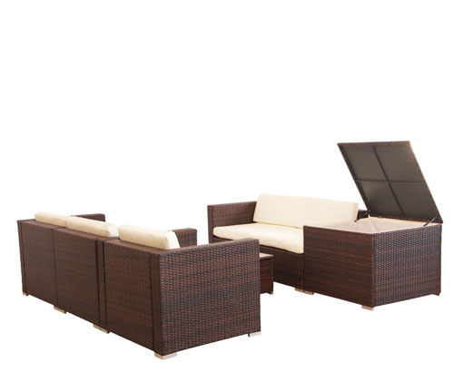 977 poly rattan lounge gartenset braun sofa garnitur. Black Bedroom Furniture Sets. Home Design Ideas