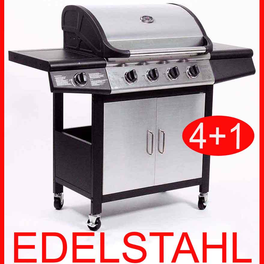 412 edelstahl gasgrill bbq grillwagen 4 1 brenner gas grill seitenkocher neu ebay. Black Bedroom Furniture Sets. Home Design Ideas