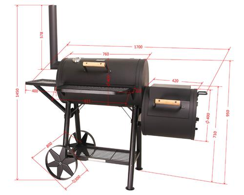 taino massiver smoker bbq grillwagen holzkohle grill ca. Black Bedroom Furniture Sets. Home Design Ideas
