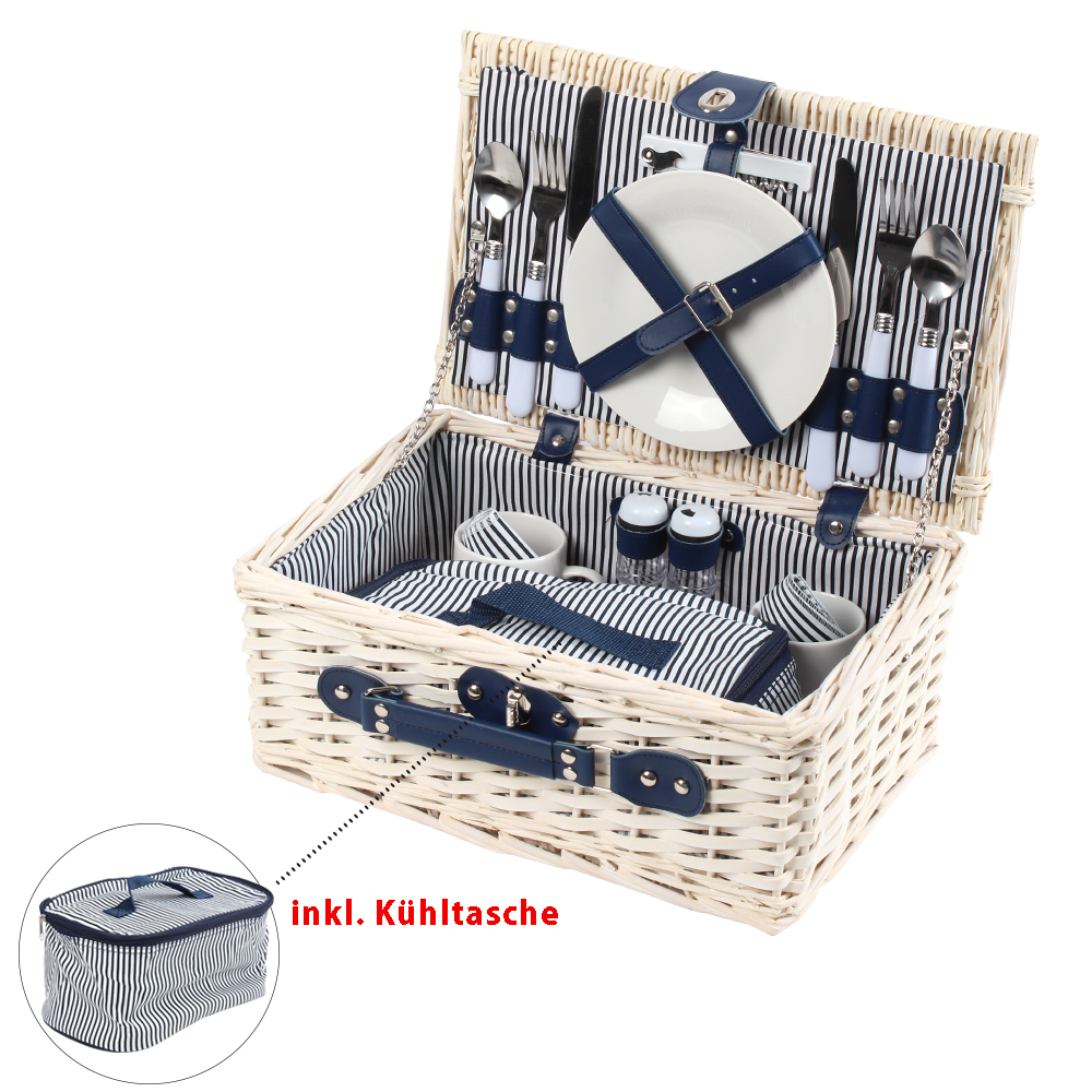 picknickkorb k hltasche blau wei picknick set f r 2. Black Bedroom Furniture Sets. Home Design Ideas
