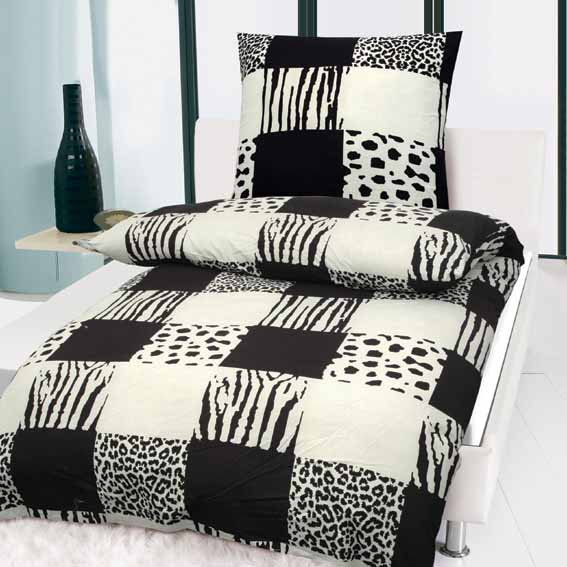 sparset 4 tlg schwarz weiss bettw sche garnitur microfaser 135x200cm mit rv neu ebay. Black Bedroom Furniture Sets. Home Design Ideas