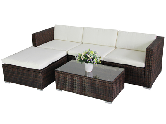 961 poly rattan lounge gartenset braun sofa garnitur. Black Bedroom Furniture Sets. Home Design Ideas