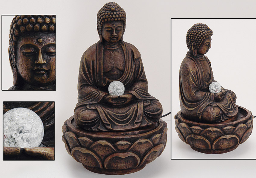 deko buddha brunnen zimmerbrunnen 65cm statue feng shui ebay. Black Bedroom Furniture Sets. Home Design Ideas
