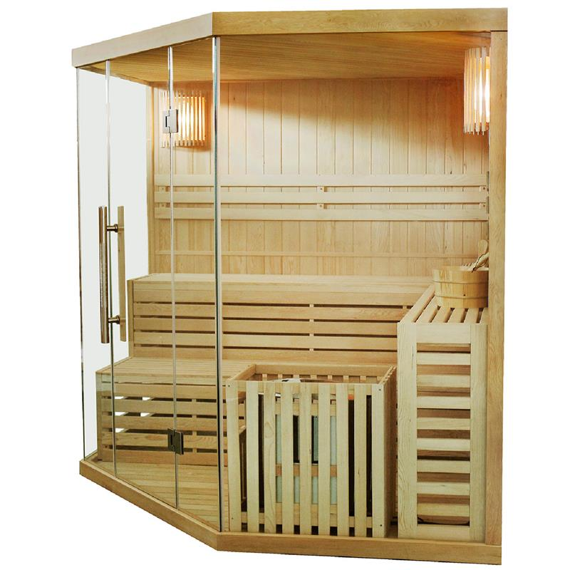 saunakabine espoo200 massivholz sauna ecksauna traditionell harvia saunaofen neu ebay. Black Bedroom Furniture Sets. Home Design Ideas