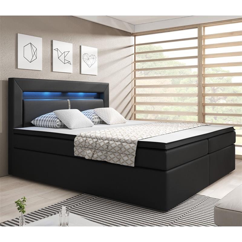 boxspringbett design topper led pu leder hotelbett federkern 140 180 x 200cm. Black Bedroom Furniture Sets. Home Design Ideas