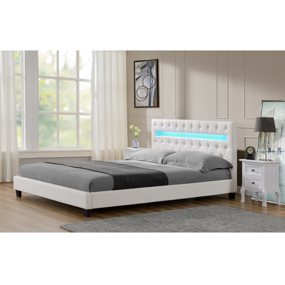polsterbett lederbett doppelbett bettgestell lattenrost bett weiss schwarz led ebay. Black Bedroom Furniture Sets. Home Design Ideas
