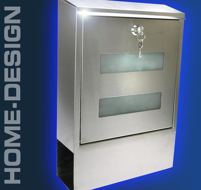 design briefkasten edelstahl glas zeitungsfach 1030. Black Bedroom Furniture Sets. Home Design Ideas