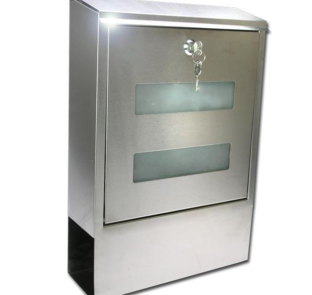 design briefkasten edelstahl glas zeitungsfach 1030 ebay. Black Bedroom Furniture Sets. Home Design Ideas