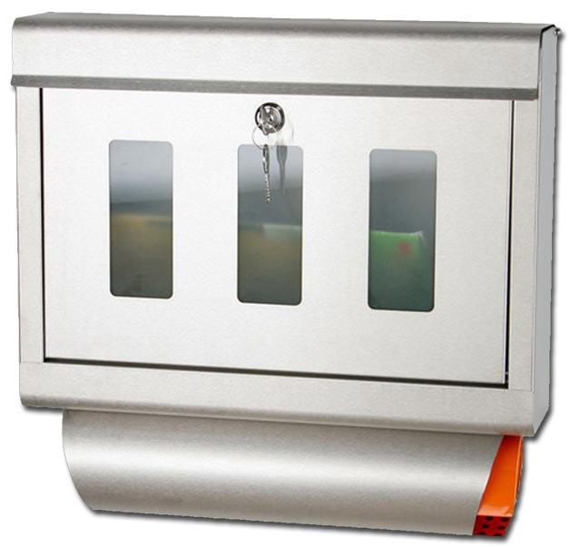 pro design briefkasten edelstahl glas zeitungsfach 1033 ebay. Black Bedroom Furniture Sets. Home Design Ideas