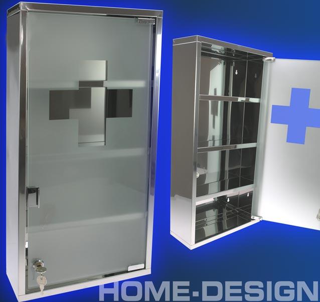 Maxi erste hilfe medizinschrank 60cm edelstahl glas 1039 for Design couchtisch satiniertes glas