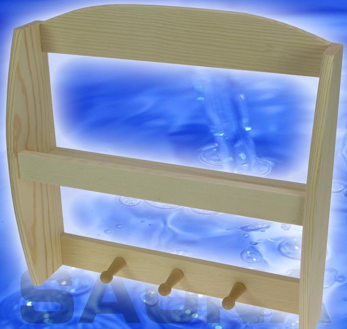 sauna regal ablage handtuchhalter fichtenholz 9511 ebay. Black Bedroom Furniture Sets. Home Design Ideas