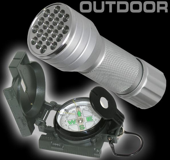 OUTDOOR SET LED Taschenlampe + Military Kompass 903820