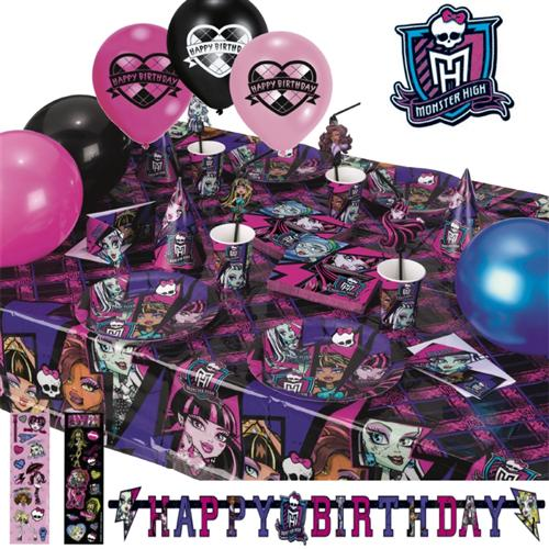 monster high 2 geburtstag motto party deko set kinder geburtstag halloween ebay. Black Bedroom Furniture Sets. Home Design Ideas