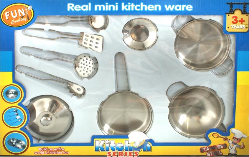9 tlg kinder topfset metall spielkuche zubehor geschirr ebay for Spielküche geschirr