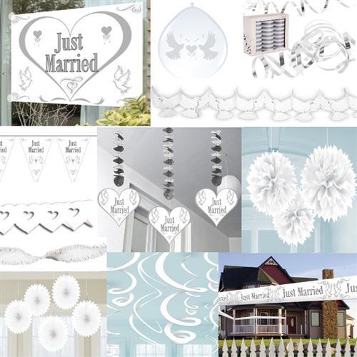 hochzeit just married herz girlande party deko luftballons. Black Bedroom Furniture Sets. Home Design Ideas