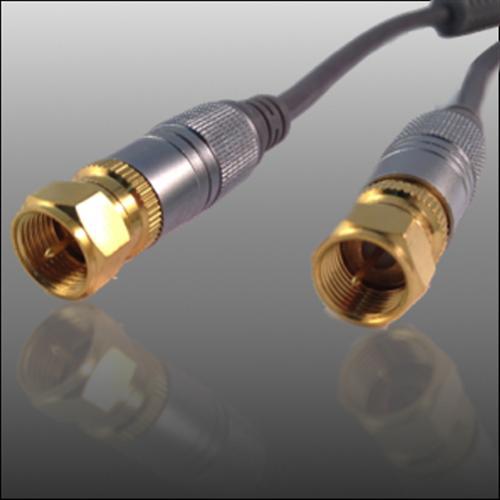 premium sat antennenkabel f stecker kabel 100 db fullhdtv digital ferrit gold ebay. Black Bedroom Furniture Sets. Home Design Ideas