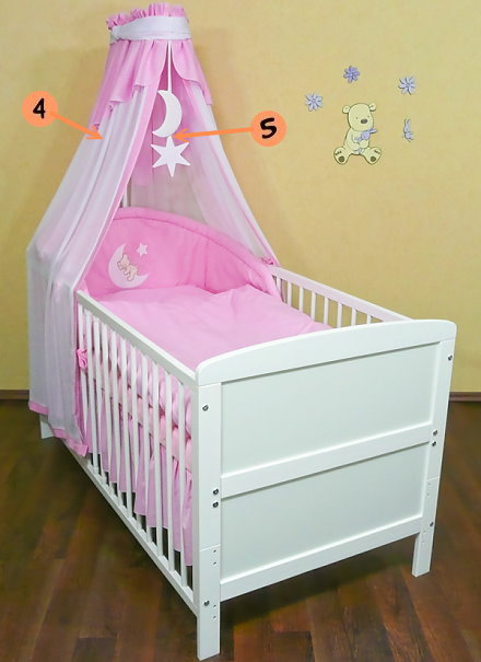 babybett kinderbett weiss 140x70 bettset komplett neu ebay. Black Bedroom Furniture Sets. Home Design Ideas