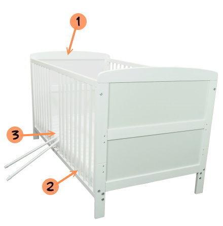 babybett kinderbett weiss 140x70 bettset komplett neu ebay. Black Bedroom Furniture Sets. Home Design Ideas