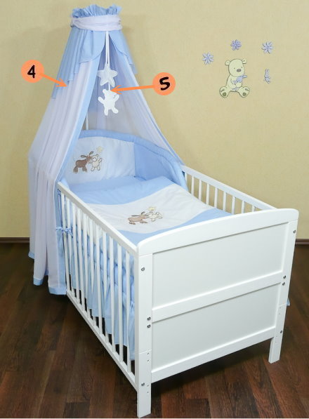 babybett kinderbett weiss 140x70 bettset stickerei neu ebay. Black Bedroom Furniture Sets. Home Design Ideas