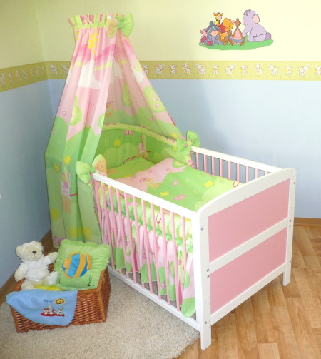 babybett kinderbett juniorbett weiss rosa 140x70cm bettset neu ebay. Black Bedroom Furniture Sets. Home Design Ideas
